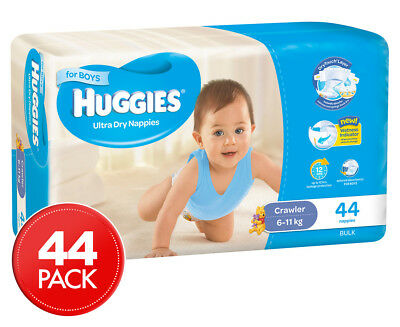 Huggies Ultra Dry Crawler Nappies Boys 6-11kg 44pk