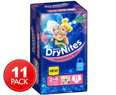 Huggies DryNites Pyjama Pants Girls 2-4 Yrs 11pk