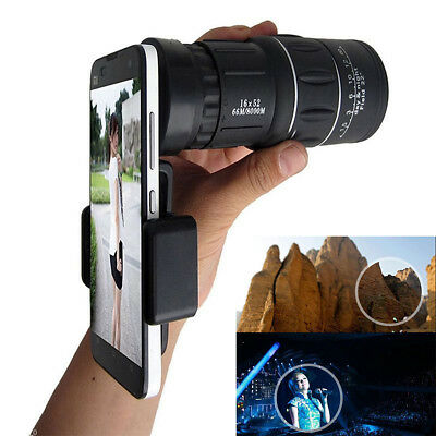 16x52 Zoom Dual Focus Monocular Telescope 66M/8000M & Phone Holder & Pouch Kit