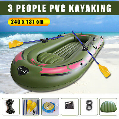 3-Preson Kayak Inflatable Boat Mat Oars Rope Fishing Dinghy Raft Yacht Camping