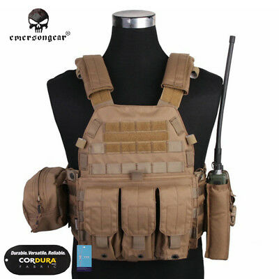 EMERSON LBT6094A Style Plate Carrier Vest with 3 Pouches Military Gear CP 7440