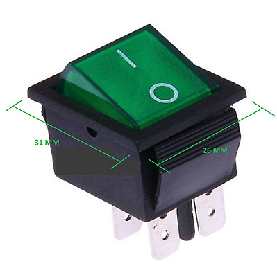 Interruttore a Bilanciere 12V Bipolare Luminoso On/Off 31x26 250V MAX 16A F037V