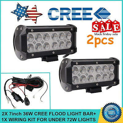 2X 7inch 36W Cree Flood LED Light Bar Off-road ATV Fog Truck 4WD with Wiring Kit