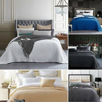 New Premium 100% Cotton 350gsm Large Waffle Blanket Bedspread Bed Throw Rug