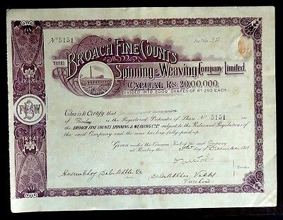 India The Broach Fine Counts Spinning Co Ltd 1918 share certificate