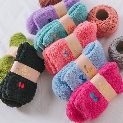 6 Pairs Womens N Fuzzy Soft Ladies Winter Warm Candy Color Fashion Socks Lot 5-8