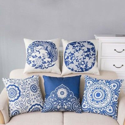 Delicate Blue And White Porcelain Pattern Throw Pillow Case Waist Cushion Cover
