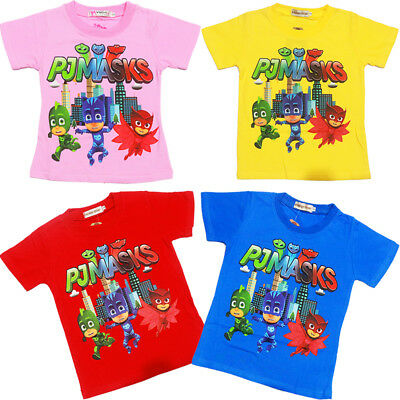 New Kids T-Shirt Size 2-6 Pj Mask Boys Girl Gift Tees Tops Outfit Ninja Pyjamas