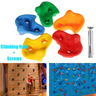 1pc Kids Climbing Rock Wall Textured 5 Colors Stone Hold Hand Feet Assorted Bolt
