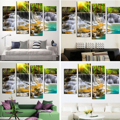 4 Panel HD Unframed Canvas Waterfall Print Modern Home Decor Wall Art Picture