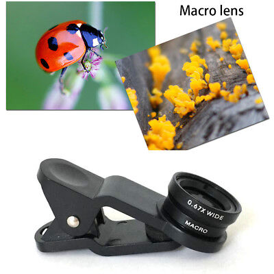 3in1 Clip Fish Eye+Macro+Wide Angle Lens Camera kit for iPhone/Samsung Cellphone