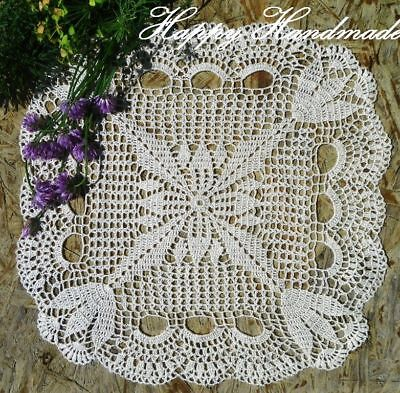 HaHa Linen Off-White Crochet 32x32cm (12.5'') Large Square Doily / made-to-order