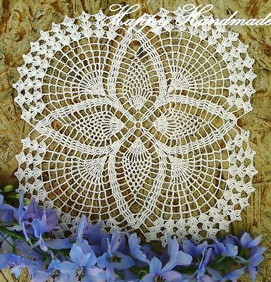HaHa Off-White Linen Crochet 25x25cm (9.8 inch) Square Doily /made-to-order