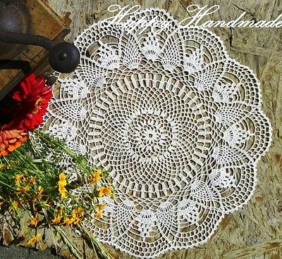 HaHa Off-White Linen Crochet 42cm(16 inch) Doily Round /wedding/made-to-order