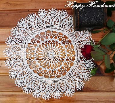 HaHa Large Off-White Linen Crochet 34cm (13 inch) Doily / wedding /made-to-order