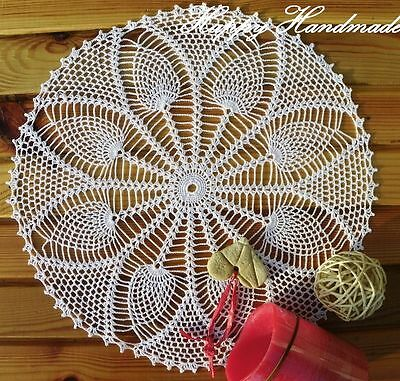 HaHa White Linen Crochet 35cm (13.7 inch) Large Doily / wedding /made-to-order