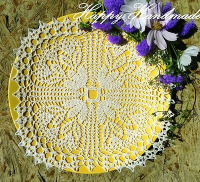 HaHa White Linen Crochet 27x27cm (11 inch) Square Doily / wedding/made-to-order