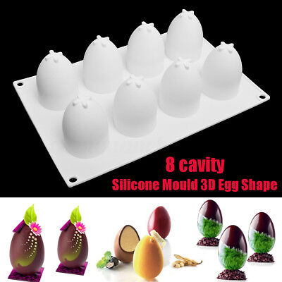 3D 8 Grid Silicone Egg Shape Mould for Chocolate Easter Eggs Truffle Mousse Mold
