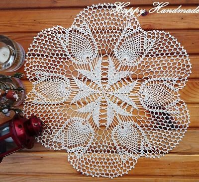 HaHa Large White Linen Crochet 42cm (16 inch) Doily / wedding/made-to-order