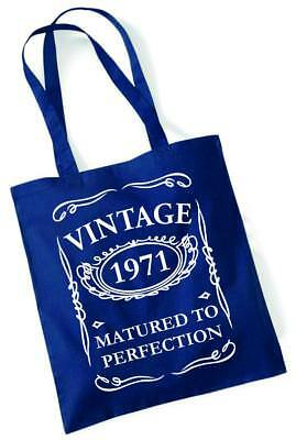49th Birthday Gifts Tote Shopping Cotton Bag Vintage 1971 Matured To Perfection