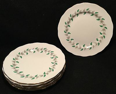 """8 Crown Staffordshire Green Grape & Gray Vine Salad or Luncheon Plates - 8.25"""" D"""