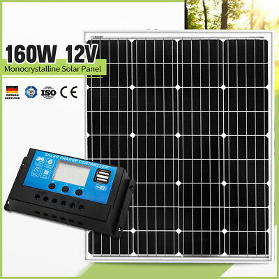 160W Solar Panel Kit Mono Cells Caravan Camping Charging & 20A PWM Regulator