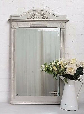 Charming Large Antique French Crested Painted Oak Mirror - C1930
