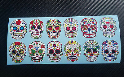 12 x Sugar Skull Mexican Day Of The Dead Decals/Stickers.
