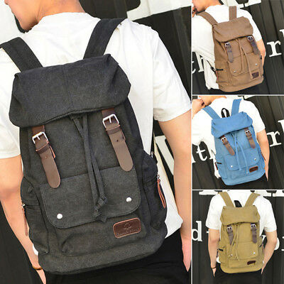 Mens Women Retro Canvas Leather Backpack Rucksack School College Work Travel Bag