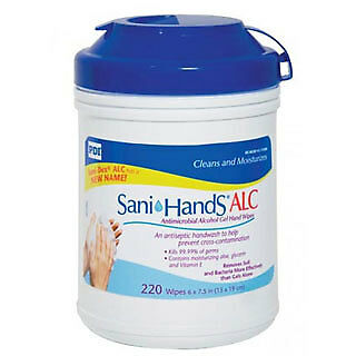 NEW! Sani-Hands ALC Sanitizing Alcohol Skin Wipes Unscented -220 Count