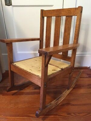 Early 1900s Goshen Manufacturing Co. Childs' Oak Rocking Chair