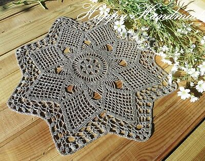 HaHa Large Grey Linen Crochet 35cm (14 inch) Doily/ made-to-order