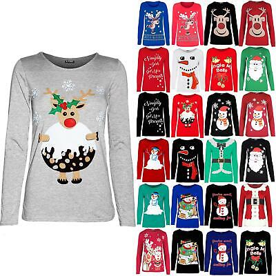 Womens Ladies Christmas Xmas Reindeer Pudding Snowflakes Long Sleeve T Shirt Top