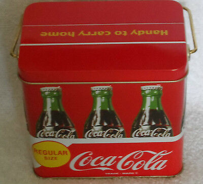 """COCA-COLA TIN BOX w/ Handle Handy to Carry Home - 5"""" x 3 1/4"""" x 4 7/8"""" - RED"""