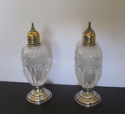 Large Lovely Vintage Cut Glass and Sterling Salt & Peppers