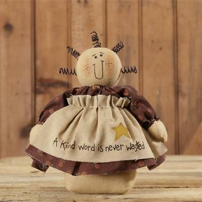 New Primitive Country Folk Art A KIND WORD IS NEVER WASTED Doll 8""