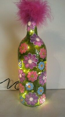 Flowers Bottle Lamp Bottle Light Handpainted Stained Glass look Lighted