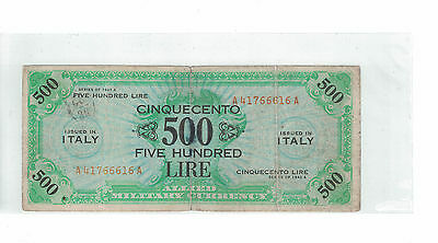 ITALY ALLIED MILITARY CURRENCY 500 LIRA 1943-A Pick# M22 ( #792 )