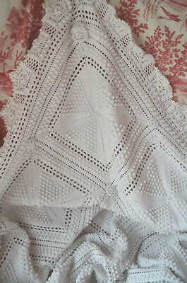 "Antique French hand knitted cotton bed cover, 85"" x 74"", matching pillow case"