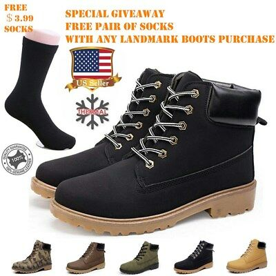 Men Winter Snow Work Safety Shoes Ankle Boots Fur Lined Martin Boots Leather