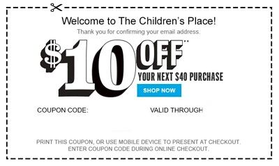 (1X) Children's Place $10 Off $40 Exp 12/9 & Crazy 8 Cpn Codes *delvd W/in 2 Hr*