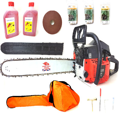 """PROGEN Powerful 58CC Petrol Chainsaw 20""""  with 3 Chains & Free Oil & Carry Case"""