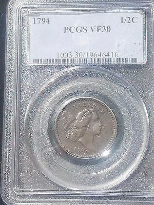 1794 Libertry Cap Half Cent PCGS VF30 Great First Year Type!
