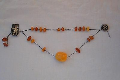 NATURAL BALTIC AMBER NECKLACE GENUINE silver 875 1 big stone 18 small 21 g