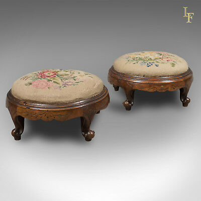 Pair of Antique Foot Stools, English, Victorian, Needlepoint, Carriage, c.1860