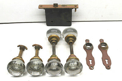 Vintage Antique Door Hardware Lot 6 Glass Knobs Closet / Door+Lock+2 Trim Plates