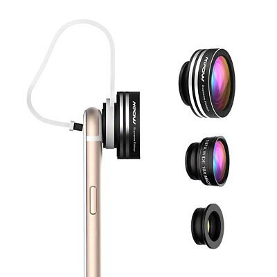 3 in 1 Fish Eye+Macro+Wide Angle Clip On Camera Lens Kit For iphone Samsung USA