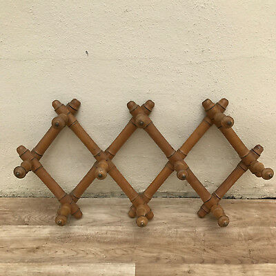 French VINTAGE Wood COAT Racks 10 pegs BAMBOO Style expandable 3010175