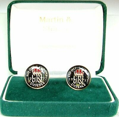 1937 Six pence cufflinks  real coins in Black & Red