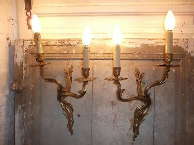 French a pair of chateau wall light really gorgeous gold patina antique